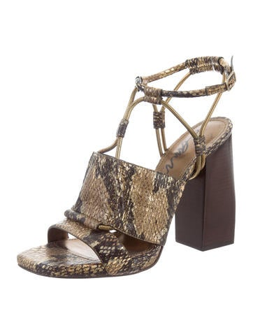 cheap sneakernews Lanvin Embossed Leather Metallic Sandals discount order wLAIWOz0d