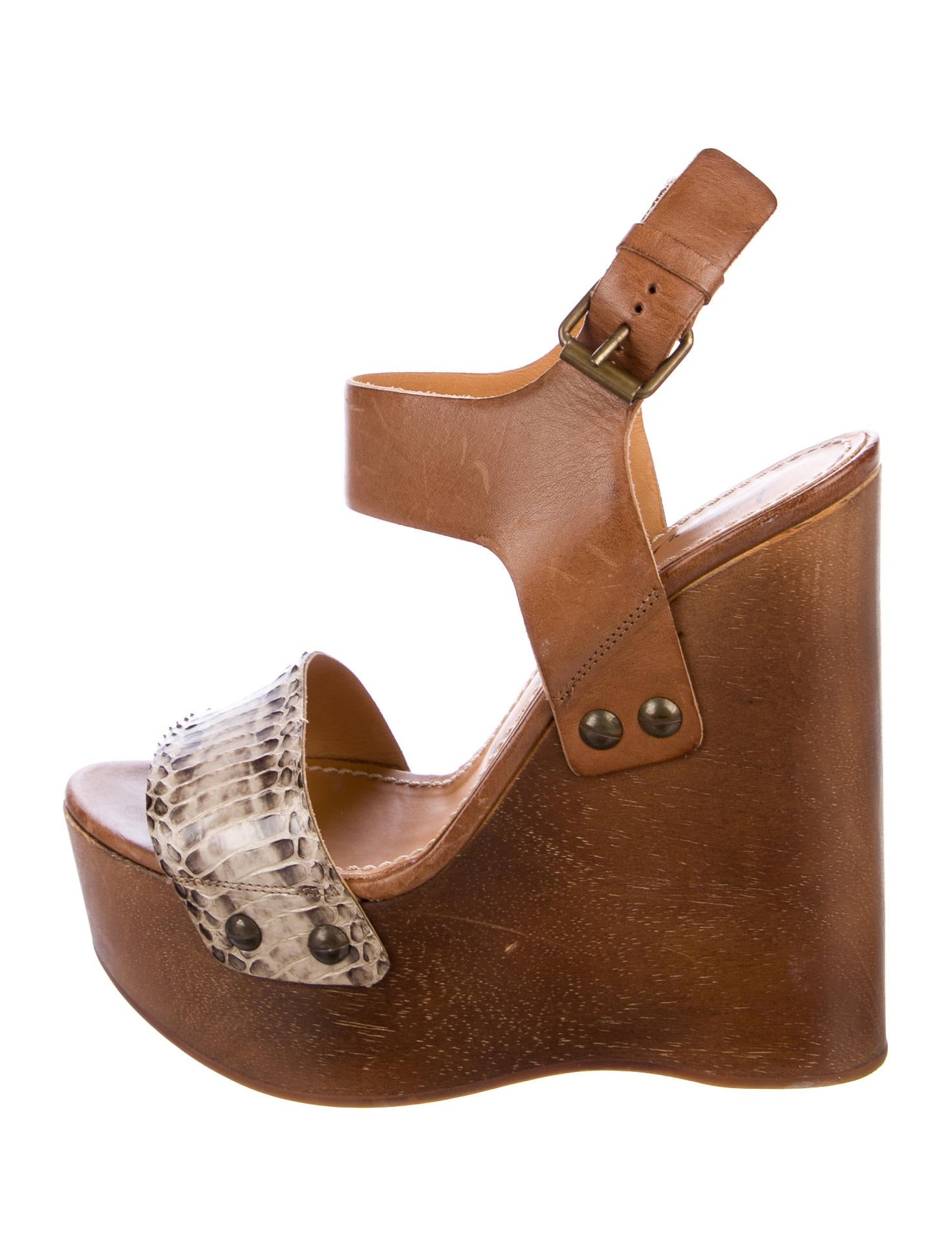prices cheap price popular online Lanvin Snakeskin-Trimmed Platform Wedges clearance latest collections JsOBF0