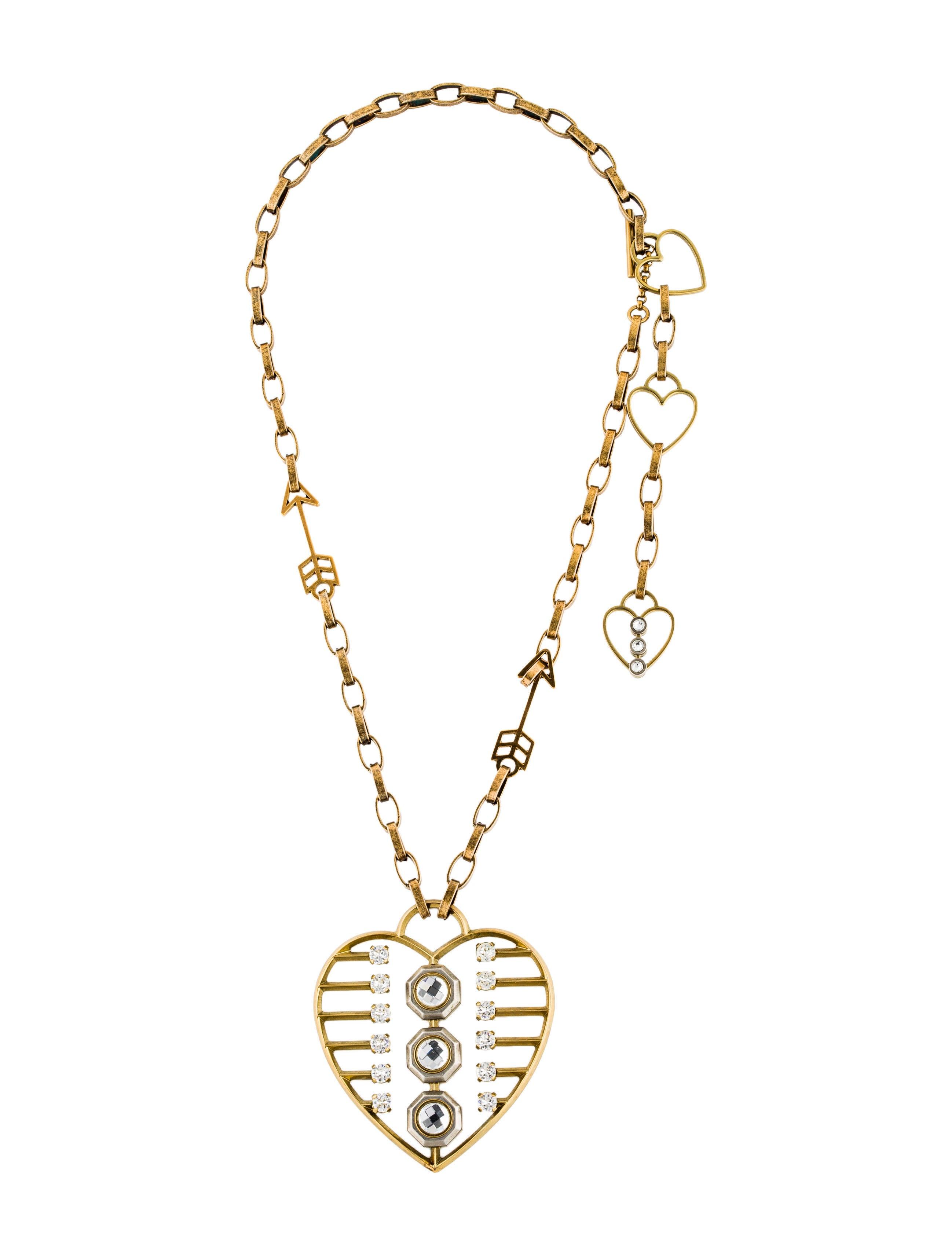 Lanvin crystal heart pendant necklace necklaces lan70284 the crystal heart pendant necklace aloadofball Images