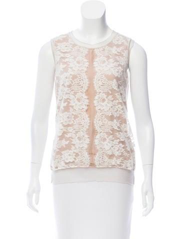 Lanvin Lace Silk-Blend Top None