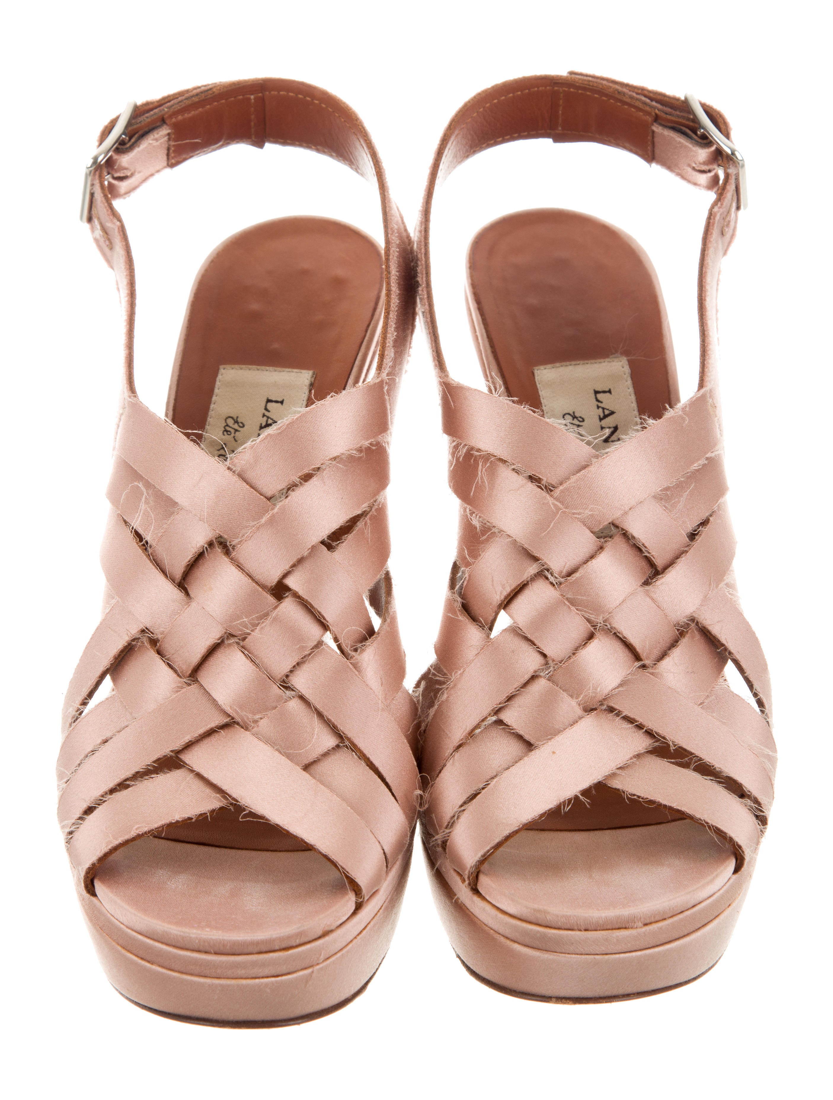 Lanvin Satin Crossover Sandals