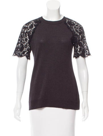 Lanvin Lace-Accented Short Sleeve Top None
