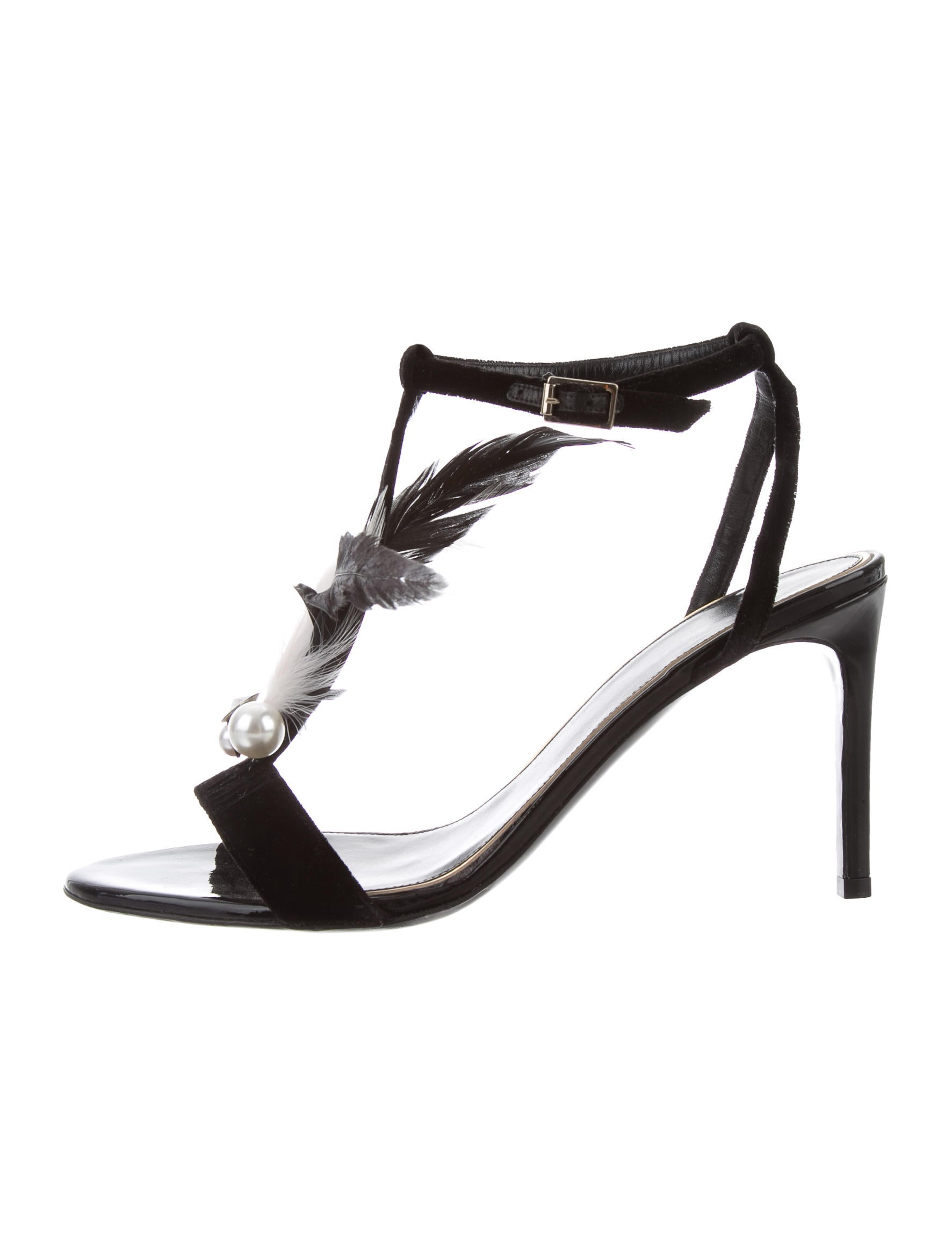 Lanvin Feather-Trimmed Velvet Sandals