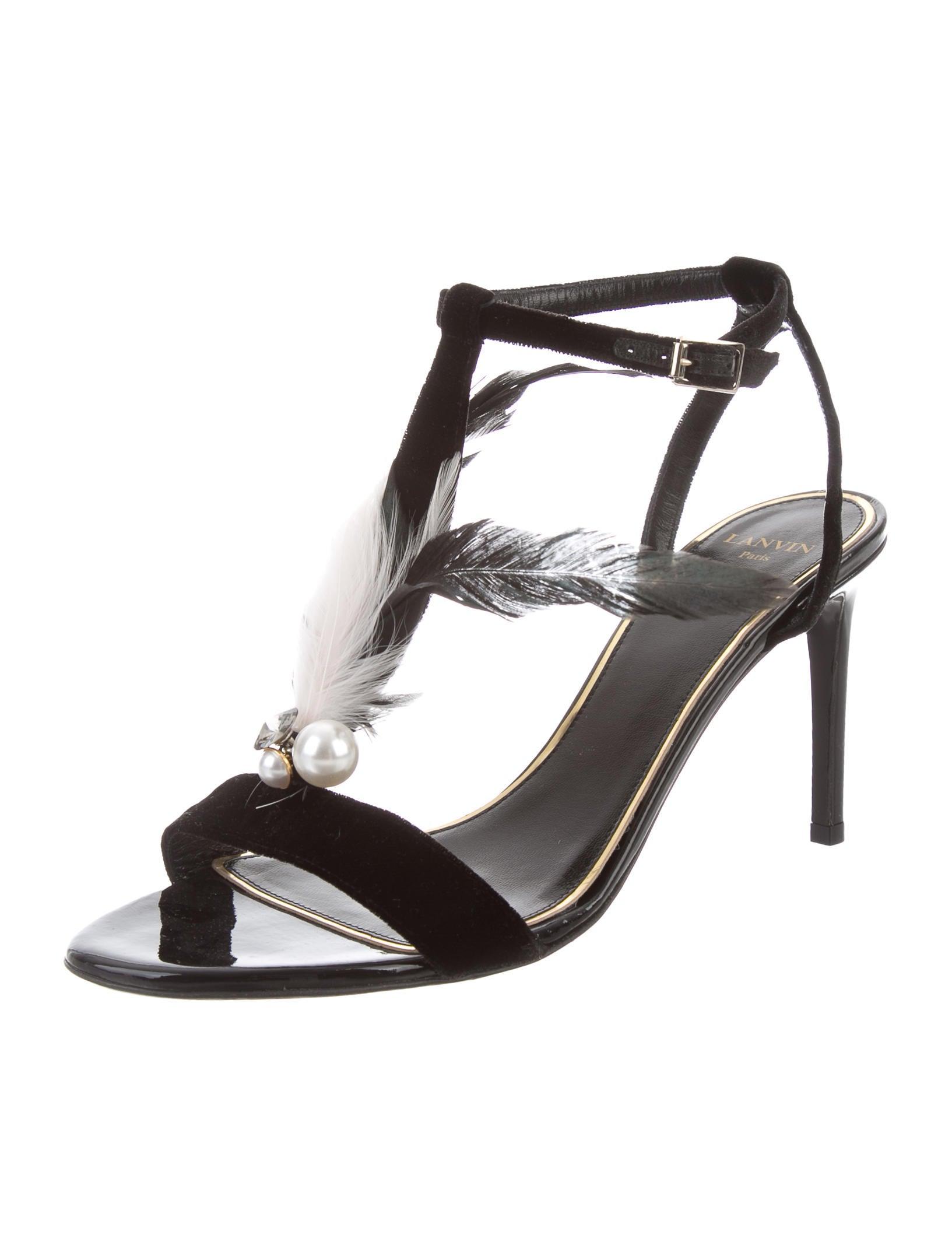 affordable quality original Lanvin Feather-Trimmed Velvet Sandals shopping online tumblr cheap online 89L7Wv3r