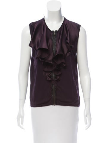 Lanvin Sleeveless Ruffle-Trimmed Top None