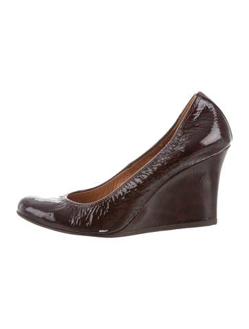 Lanvin Patent Leather Round-Toe Wedges None
