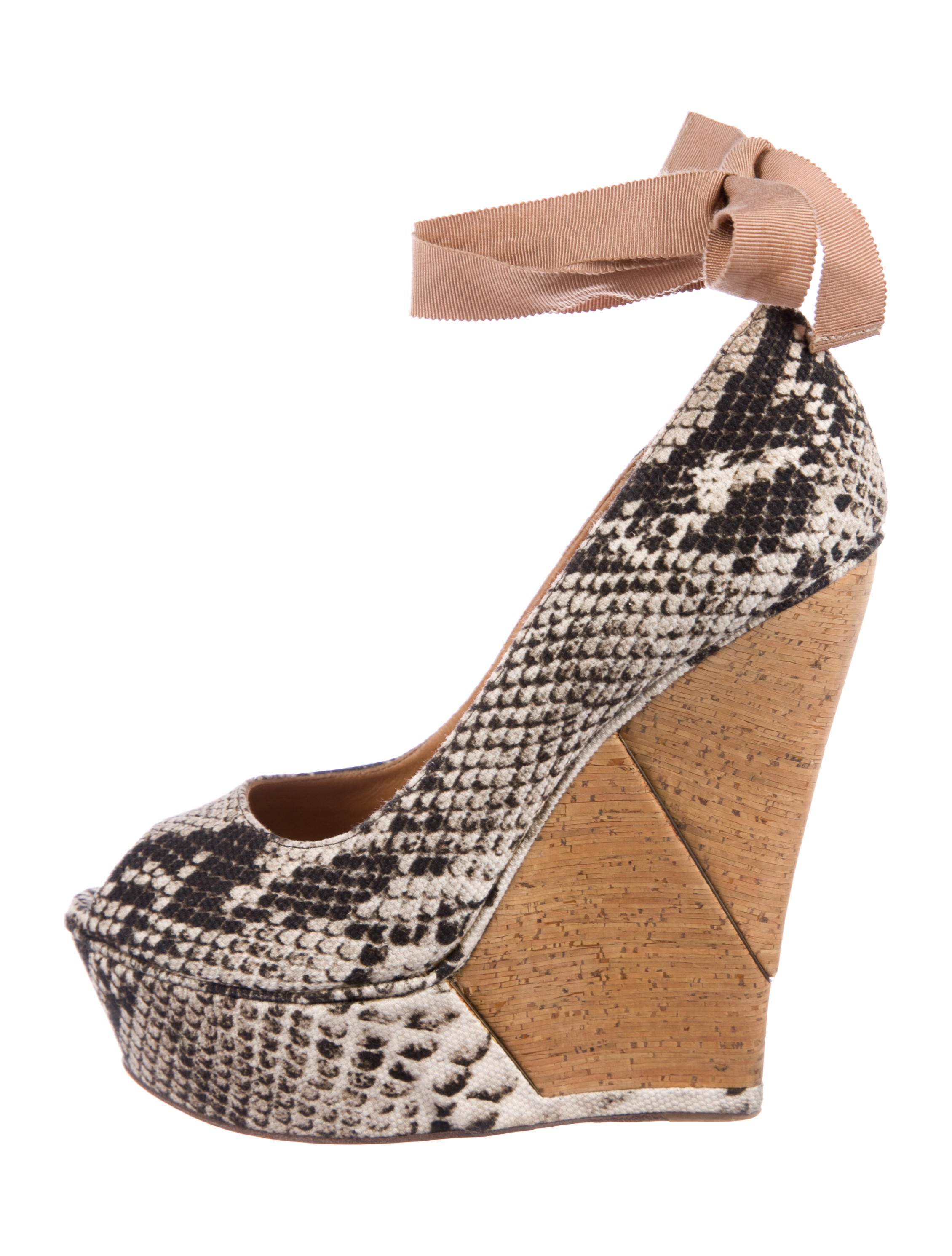 Lanvin Embossed Peep-Toe Wedges low cost sale online get to buy sale online buy cheap get authentic sale looking for cheap sale outlet store 1RrdL
