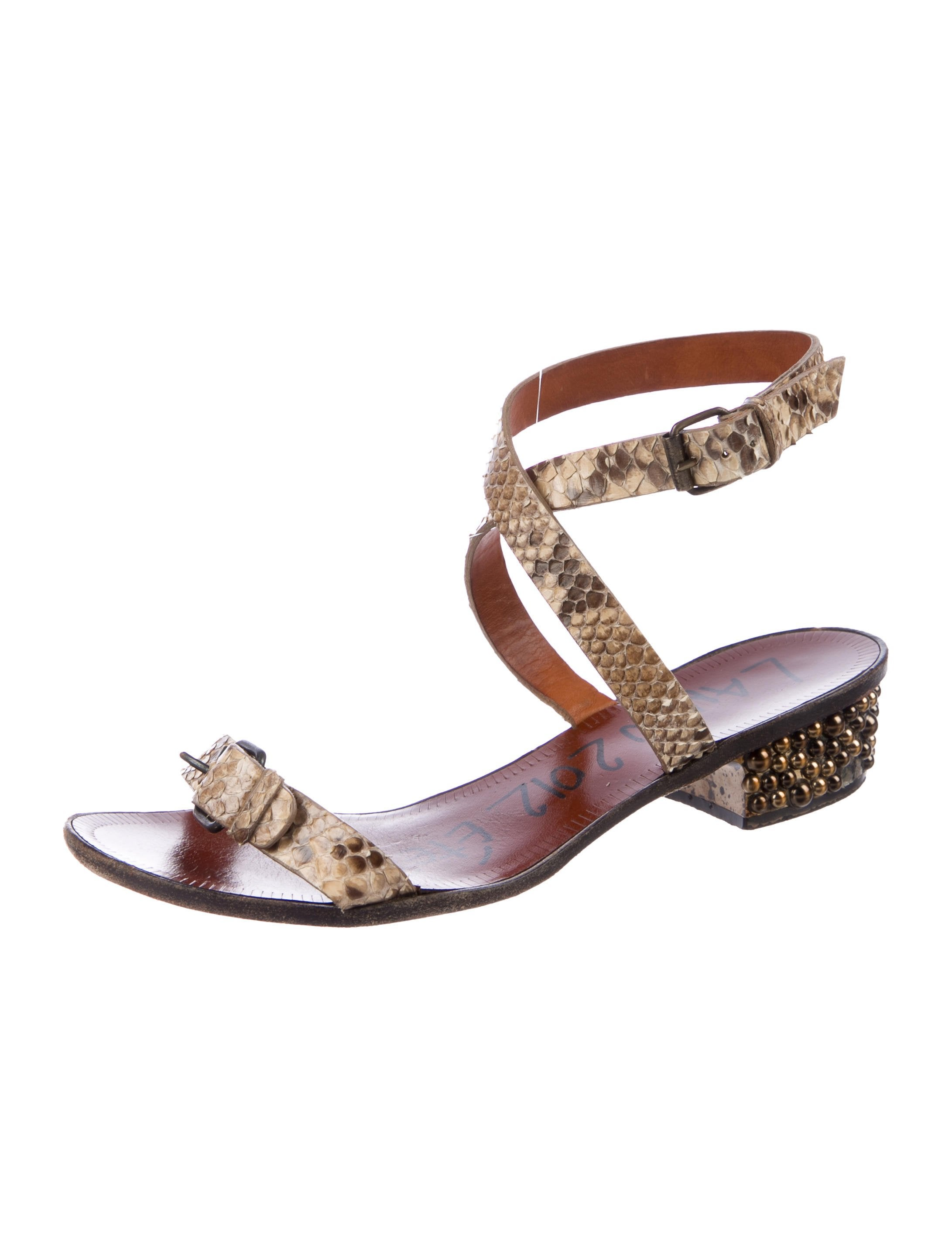 Lanvin Snakeskin Buckle Sandals sale great deals wholesale price for sale 7hLcm2MW4g