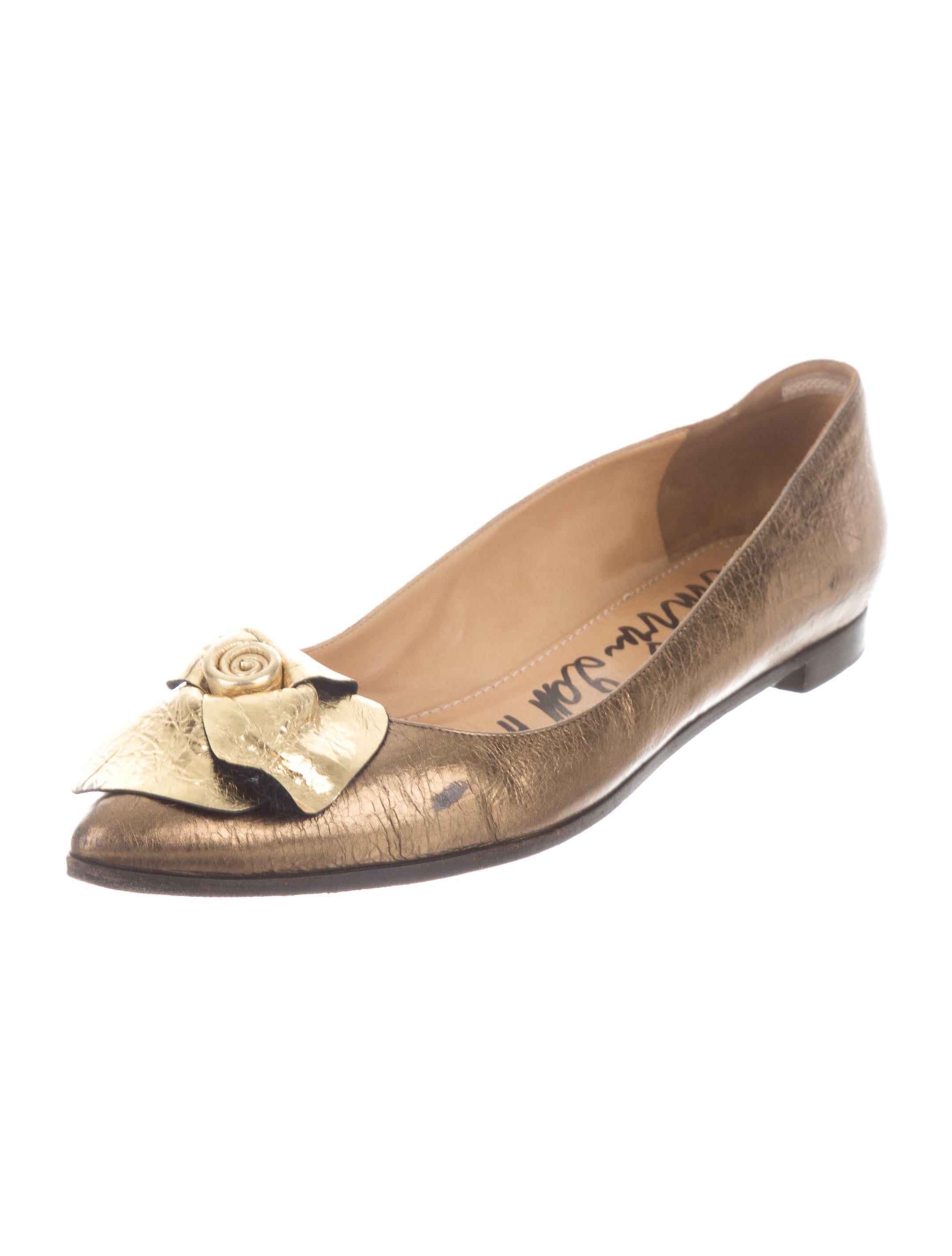 order cost cheap price Lanvin Metallic Floral-Accented Flats sale cost CMh4YMf7