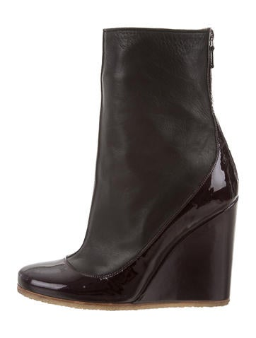 Lanvin Round-Toe Wedge Boots None