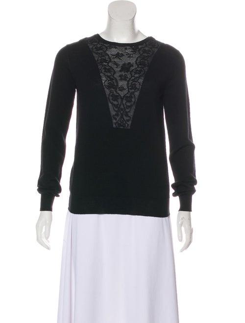 Lanvin Lace-Trimmed Lightweight Sweater Black