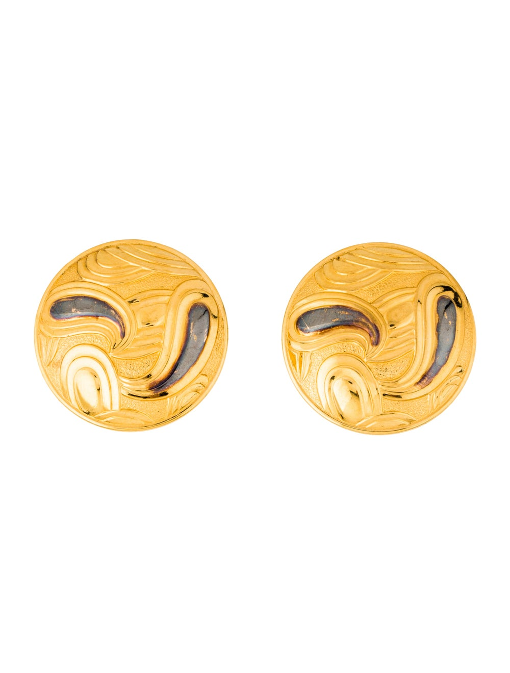 Lanvin Vintage Paisley Clip-On Earrings Gold - image 1