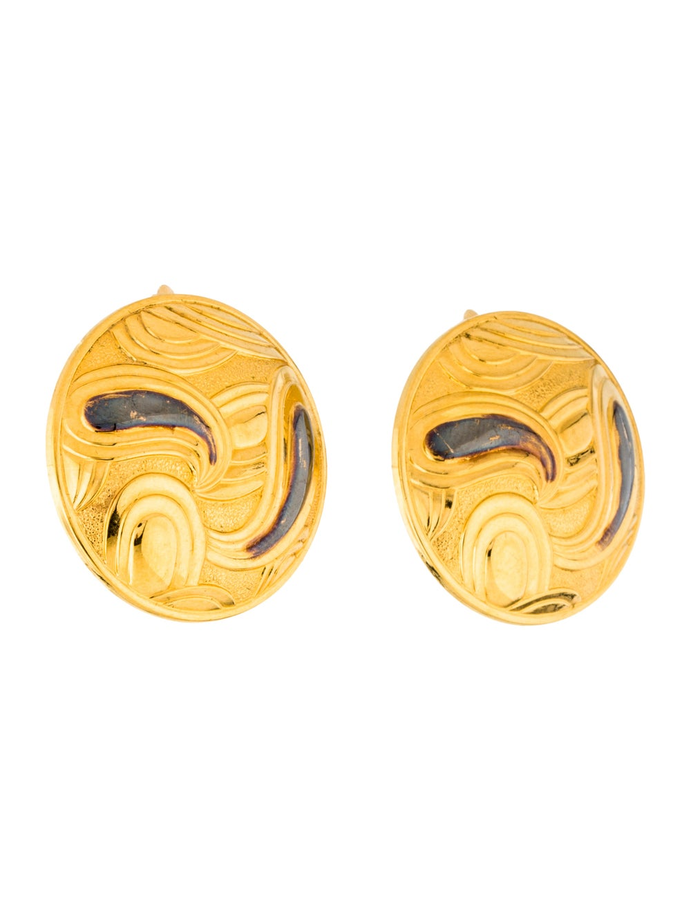 Lanvin Vintage Paisley Clip-On Earrings Gold - image 3