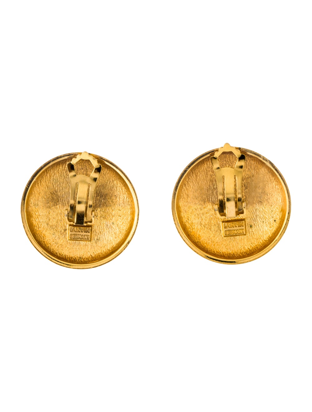 Lanvin Vintage Paisley Clip-On Earrings Gold - image 4