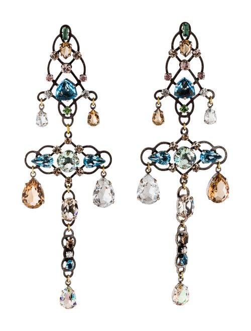 Lanvin Crystal Chandelier Earrings Silver