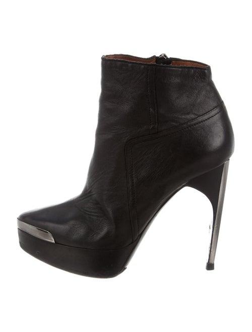 Lanvin Leather Platform Ankle Boots Black