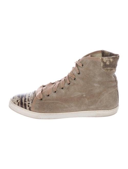 Lanvin Suede High-Top Sneakers Beige