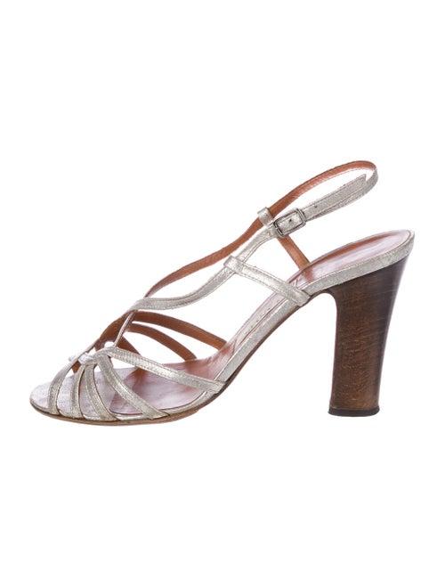 Lanvin Leather Slingback Sandals Metallic
