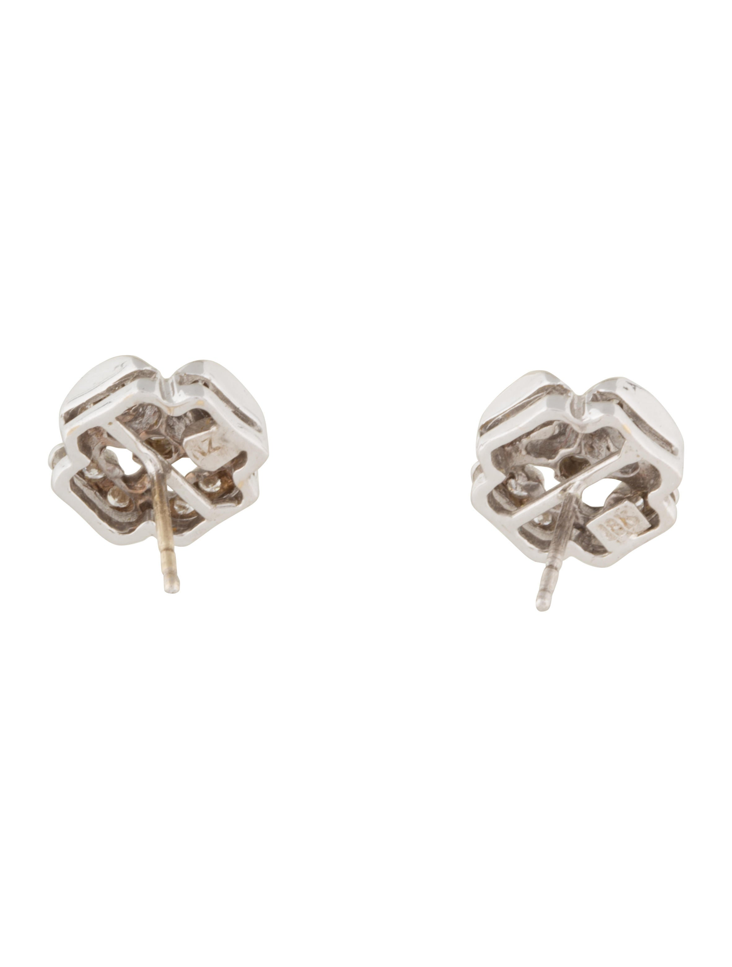 lauren k 18k diamond clover stud earrings earrings