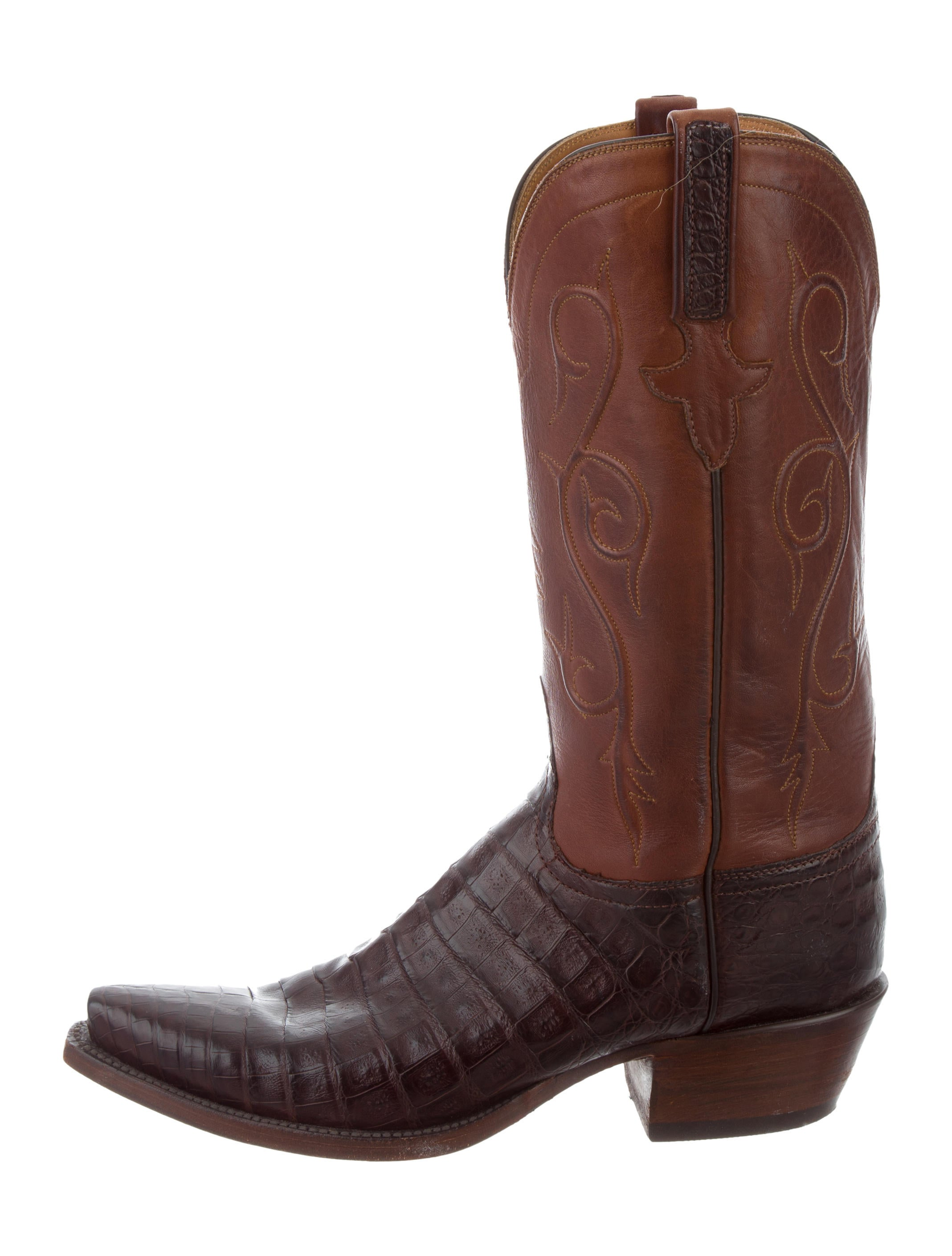 lucchese crocodile trimmed cowboy boots shoes lcc20038
