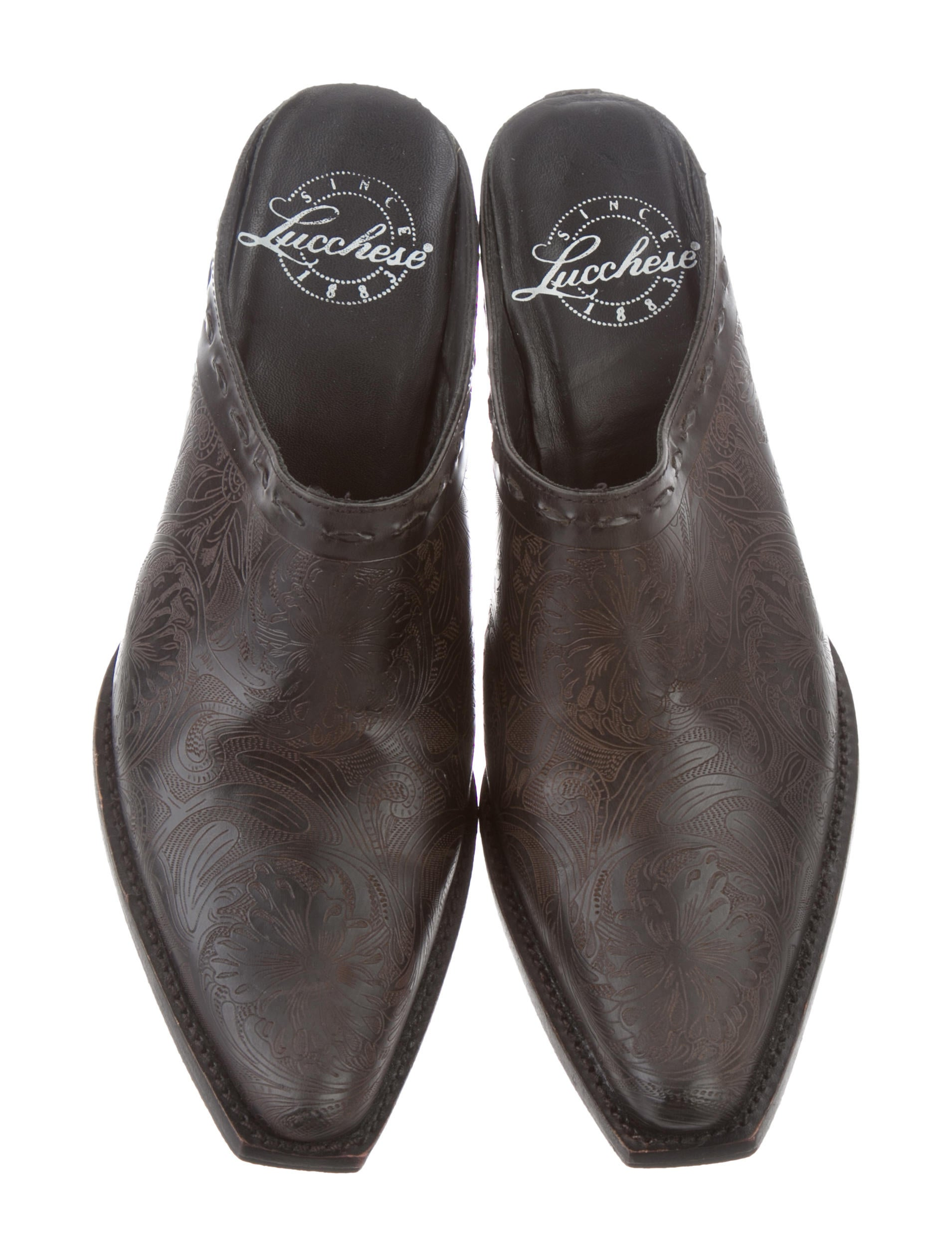 Lucchese Embossed Pointed-Toe Mules cheap hot sale discount sale online buy cheap price for sale free shipping visit new sale online WFhLOCY