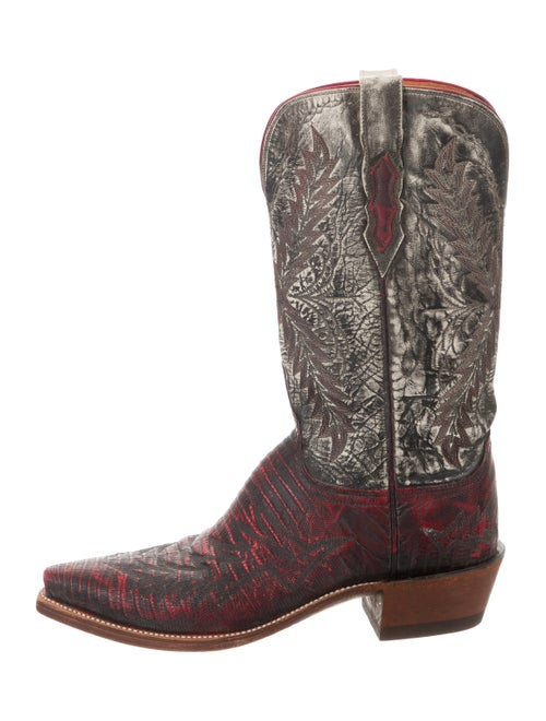Lucchese Leather Cowboy Boots Red