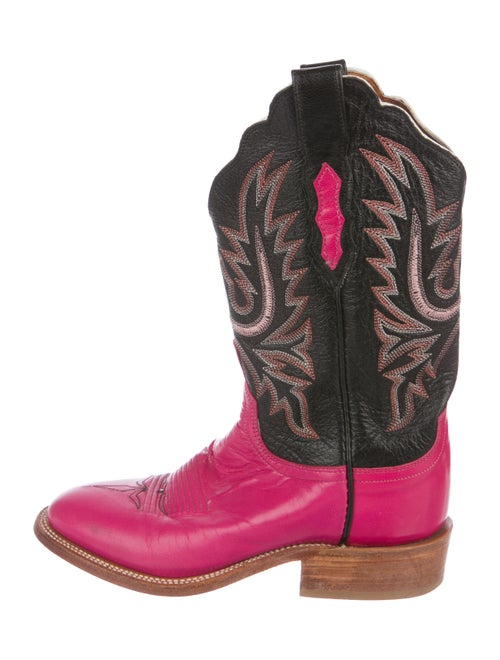 Lucchese Leather Cowboy Boots Pink