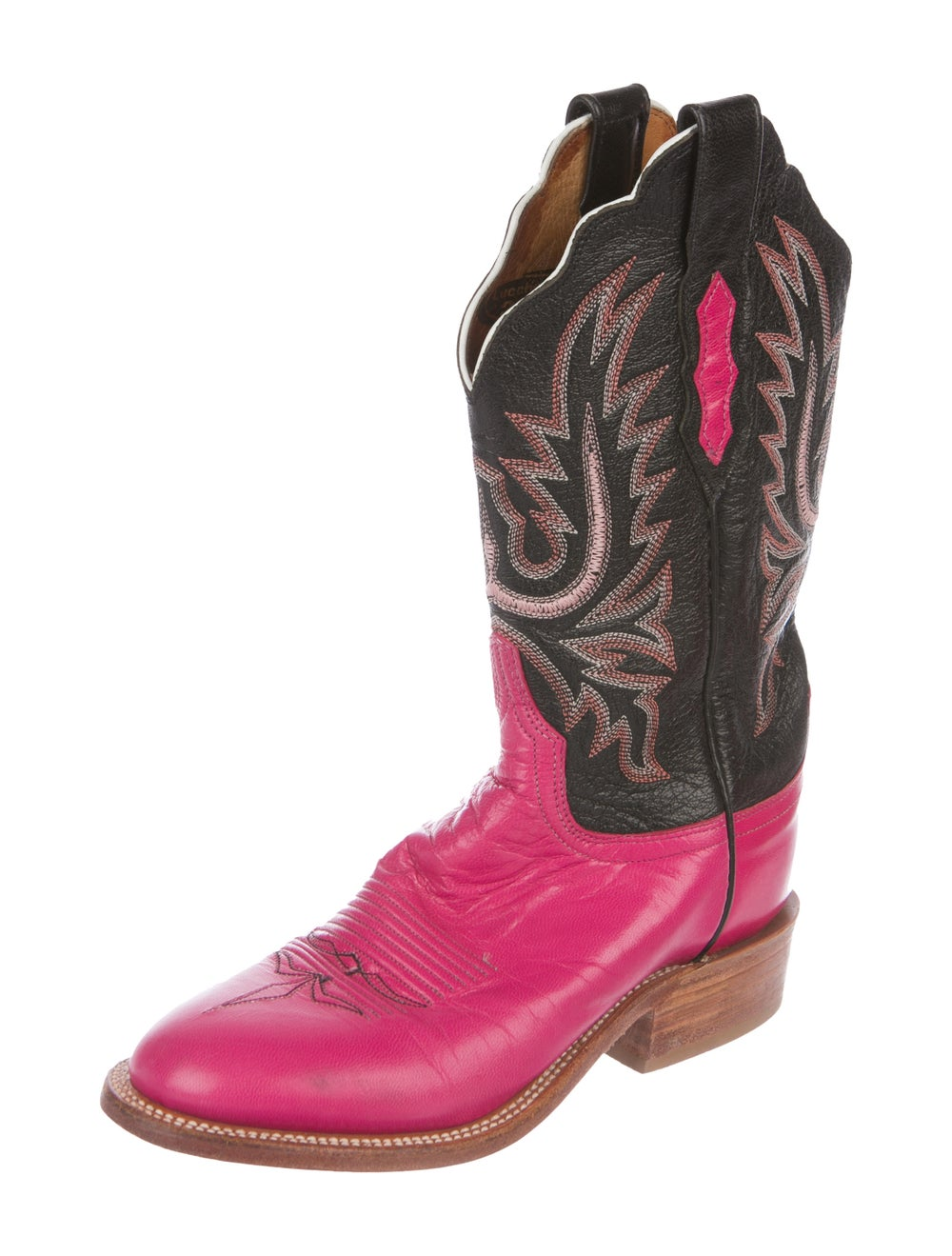 Lucchese Leather Cowboy Boots Pink - image 2