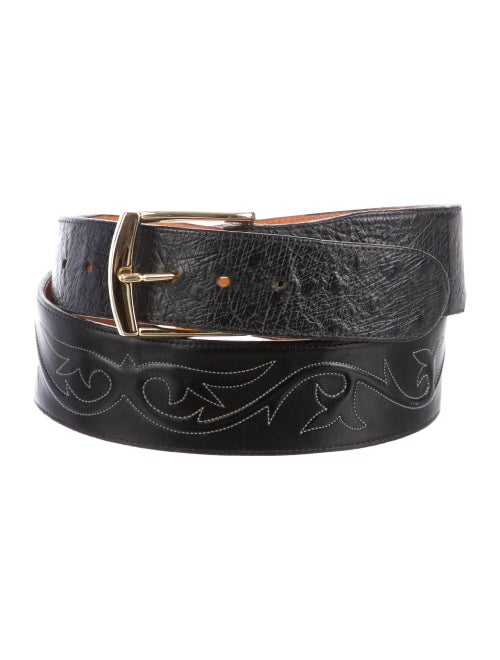 Lucchese Gold-Tone Buckle Leather Belt black