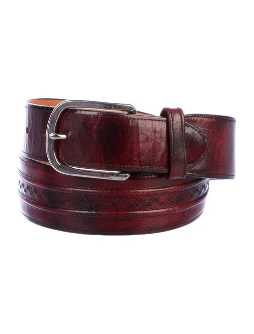 Lucchese Leather Buckle Belt red