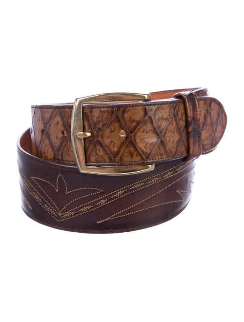 Lucchese Snakeskin-Trimmed Leather Belt brown