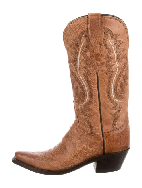 Lucchese Leather Embroidered Accent Western Boots