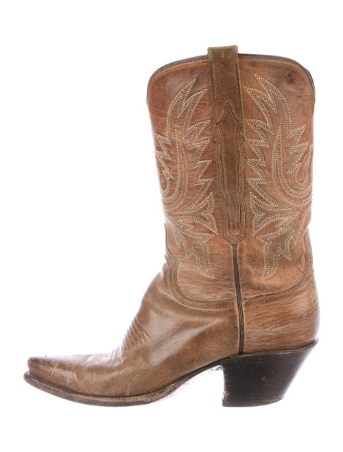 Lucchese Embroidered Accent Western Boots Brown