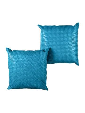 Lance Woven Leather Throw Pillow Set