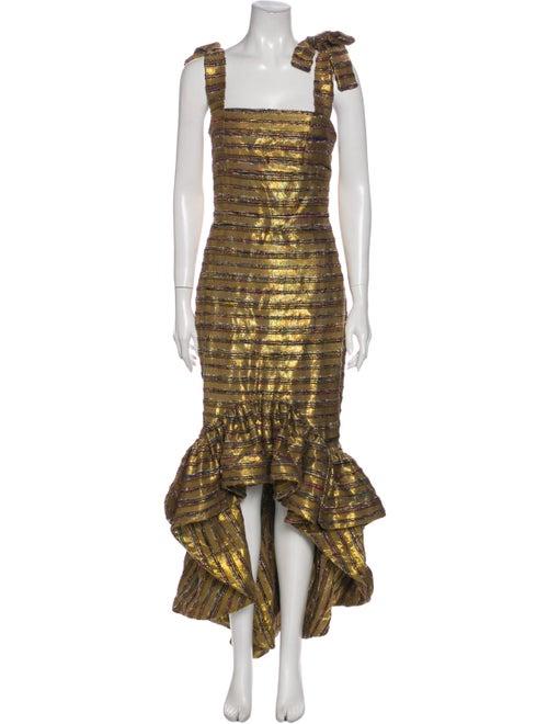 Leal Daccarett Striped Long Dress Gold
