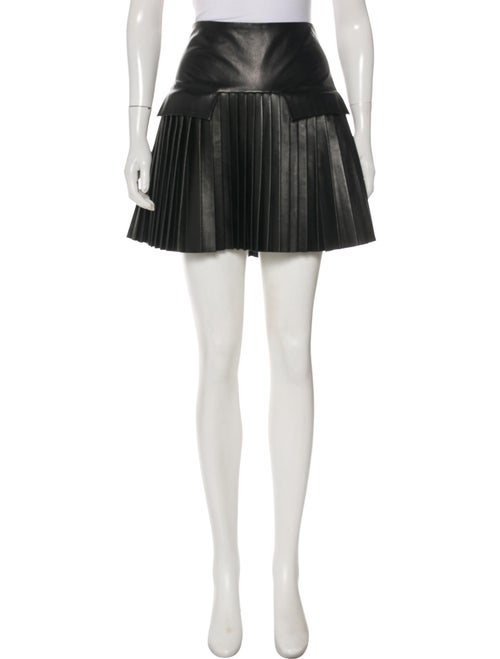 Les Chiffoniers Leather Pleated Skirt w/ Tags Blac