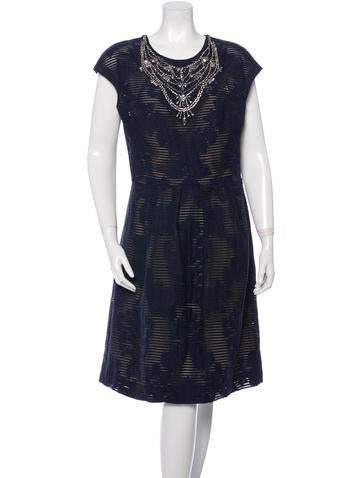 Lela Rose Sleeveless Embellished Dress None