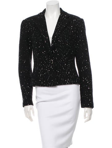 Lela Rose Embellished Wool Blazer None