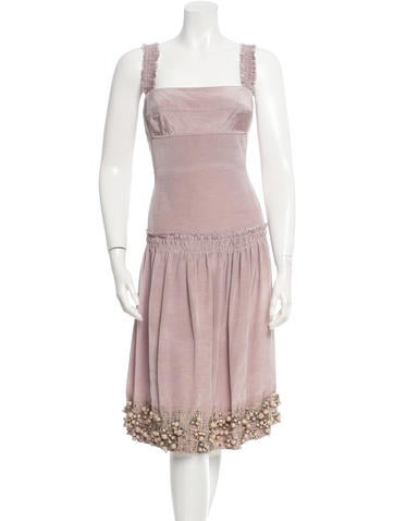 Lela Rose Silk Embellished Dress None