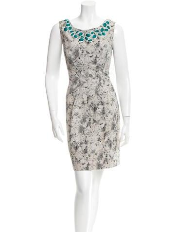 Lela Rose Embellished Jacquard Dress None