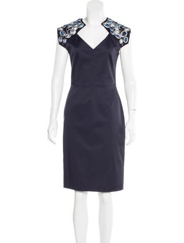 Lela Rose Embellished Sheath Dress None