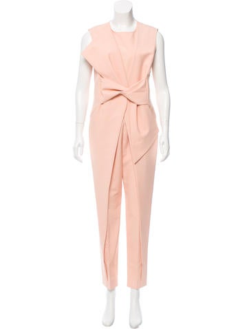 Lela Rose Bow-Accented Sleeveless Jumpsuit w/ Tags