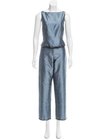 Lela Rose Embellished Silk Pant Set None