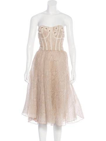 Lela Rose Bead-Embellished Bustier Dress w/ Tags None