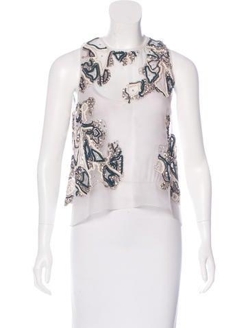 Lela Rose Embellished Silk Top w/ Tags None