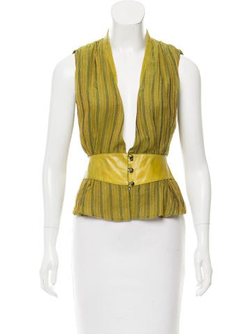 Lela Rose Sleeveless Striped Top None