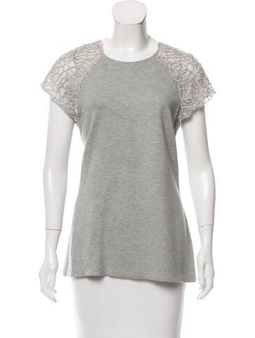 Lela Rose Embellished Short Sleeve Top None