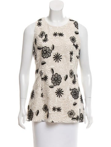 Lela Rose Embroidered Sleeveless Top None