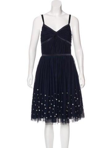 Lela Rose Tulle Embellished Dress None