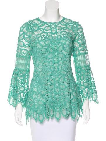 Lela Rose Lace Long Sleeve Top None